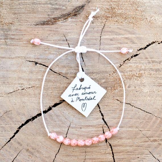 Bracelet semi-precious beads on thread handmade in Montreal