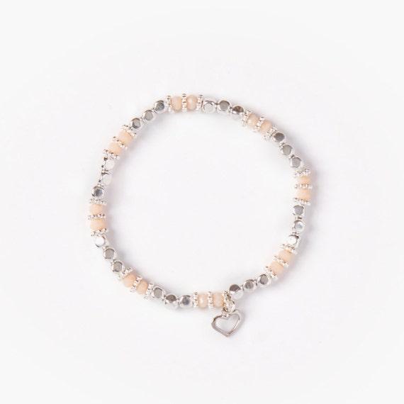 Bracelet silver plate beads on elastic thread handmade in Montreal