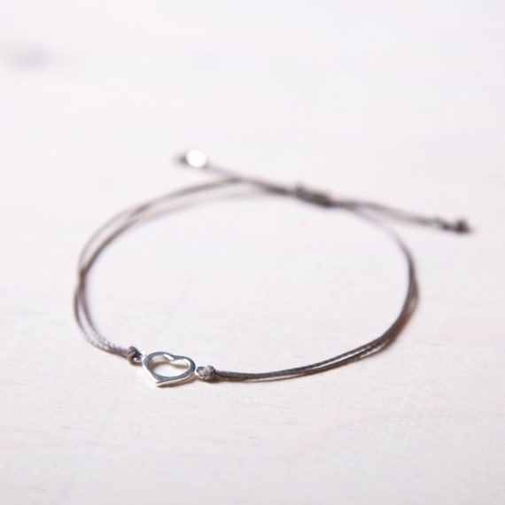 Delicate real silver heart bracelet handmade in Montreal