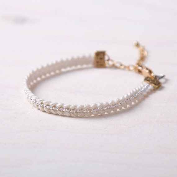 Chain and romantic ribbon bracelet handmade in Montreal