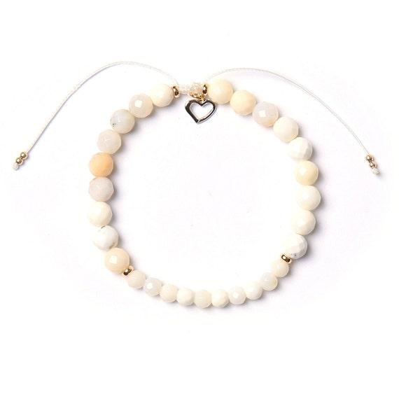 White Opal bohemia bracelet handmade in Montreal