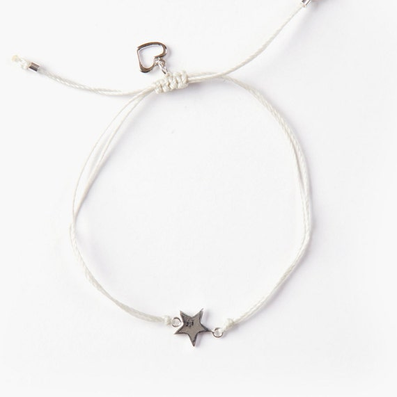 Silver star bracelet, handmade with love in Montreal