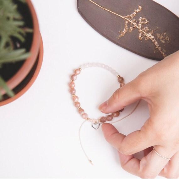 Sunstone, pink quartz bohemia bracelet handmade in Montreal