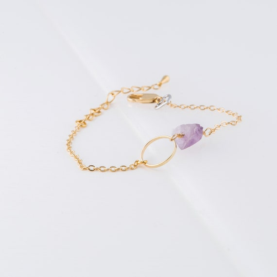 Gold-plated bracelet with small ringand amethyst charm handmade in Montreal