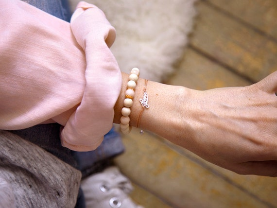"""Real silver """"love"""" and wood """"ana"""" bracelet paired in harmony, Si Simple, handmade in Montreal, Canada"""