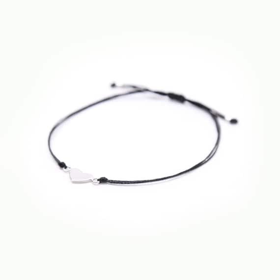 Delicate real silver full heart bracelet handmade in Montreal