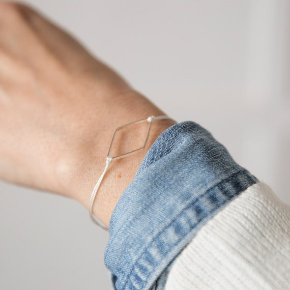 Diamond silver-plated bracelet on a nylon thread handmade in Montreal