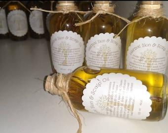 Herbal Skin and Scalp Healing oil.  2 FL oz.  cork filled glass jar