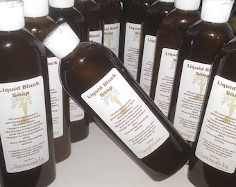 100% All Natural Liquified Black Soap from Ghana 12oz. You get more for less with our recyclable plastic bottles