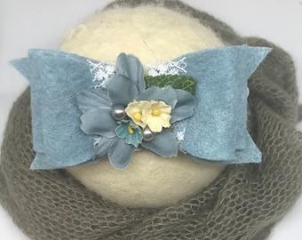 Blue headband, blue felt headband, sky blue felt bow, baby blue headband, m2m well dressed wolf, Wdw o holy night,