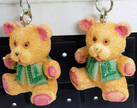 Sugar Plums Christmas Earrings - Christmas Teddy Bears!