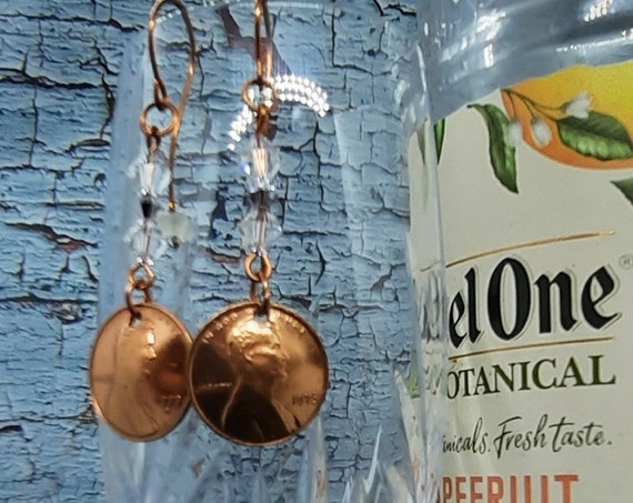 1973 U.S. Penny Earrings with Clear Crystal Accents on Copper
