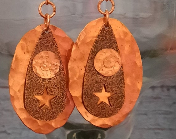 Western Hammered Copper Sun and Star with Rivets.