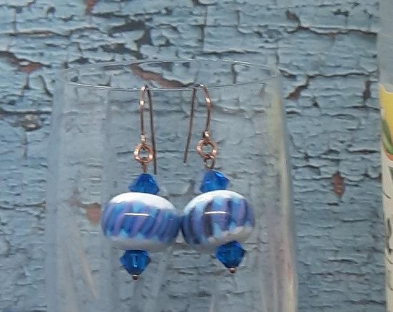 Lampwork Stripe with Teal crystal Earrings