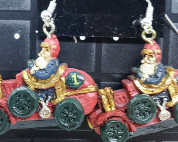 Sugar Plums Christmas Earrings KURT ADLER – Santa in old time roadster!