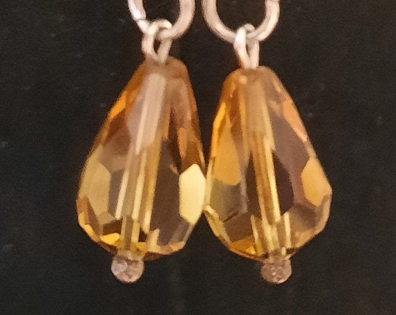 Sterling Chain and Amber Dangle Earrings