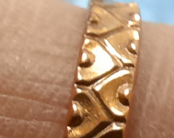Heart Patterned Copper Stacking or Knuckle Rings - 4 sizes