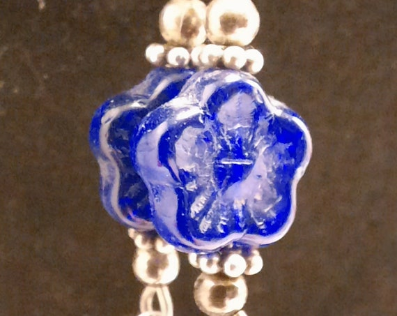 Cobalt Flower Sterling Earrings