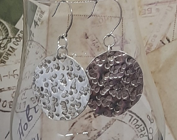 Hammered .925 Sterling Coin-shaped Disc Earrings