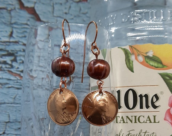 1954d Denver Wheat Penny Earrings with Glass pearls