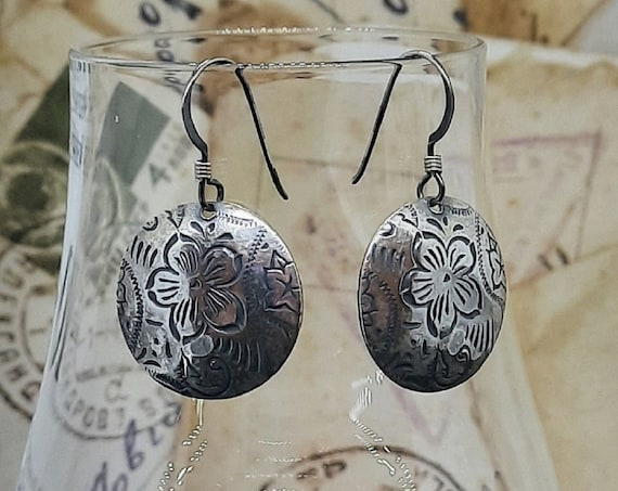 Stamped Sterling Domed Flower Earrings
