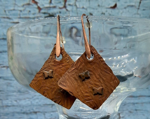 Organic Copper Butterfly Earrings