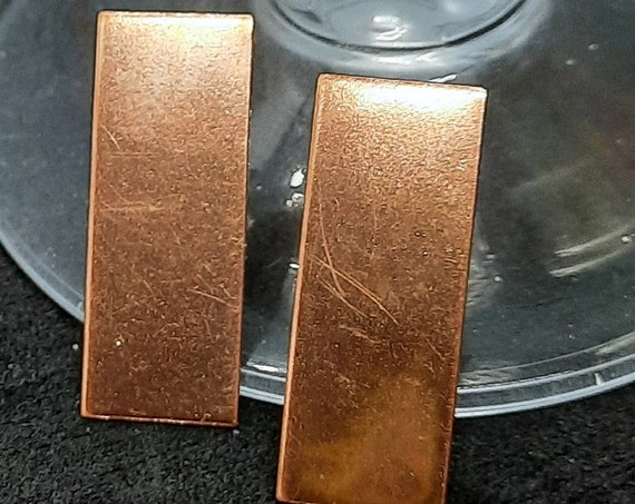 Copper Flat Rectangle Earrings with Sterling Post