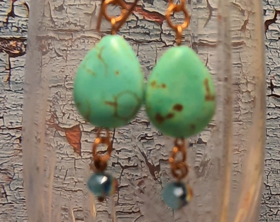 Turquoise dyed Magnesite Tear Drops with Crystals - Copper Earrings