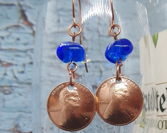 1976 D Copper U.S. Penny Earrings with Cobalt Beads on Copper