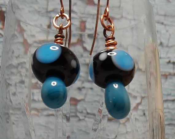 Blue Dot Mushroom Lampwork Earrings - Copper Wires