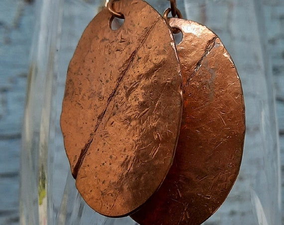 Hammered Copper Form-Folded Oval Earrings - Medium