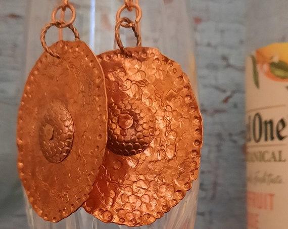 Copper Hammered Earrings