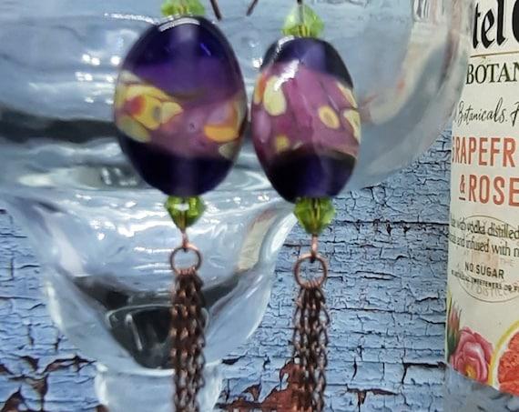 Purple Raku Lampwork Earrings with Peridot accents - Copper