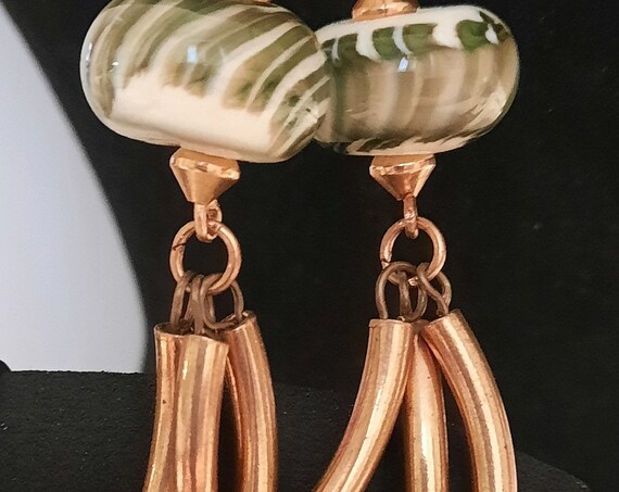 Unique Lamp work and Copper Statement Earrings