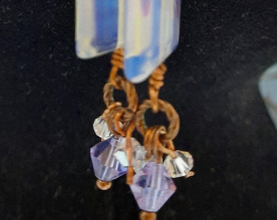 Moonshadow Opalite Earrings on Copper
