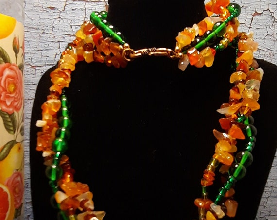 Fall Stone Glass Necklace and Earrings, Copper Accents