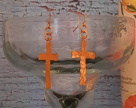 Free Form Copper Cross Earrings