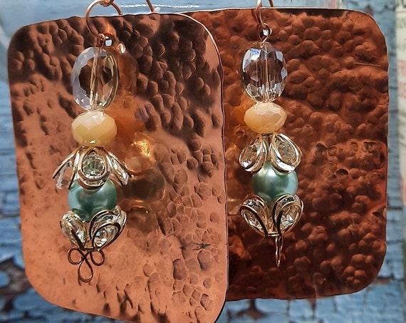 Warm Glowing Elegance Large Copper Earrings