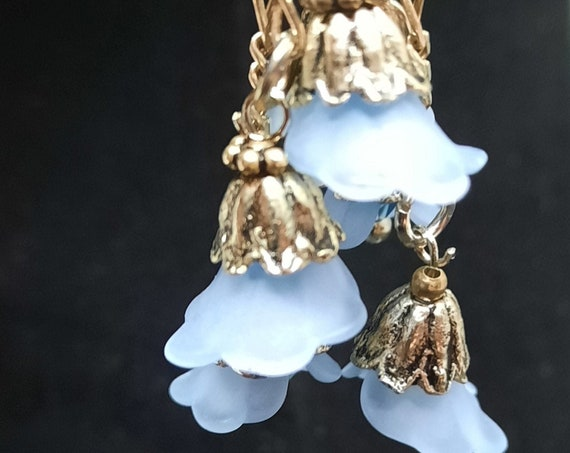 Delicious Lucite Lillies with Crystals on Sterling Silver Earrings