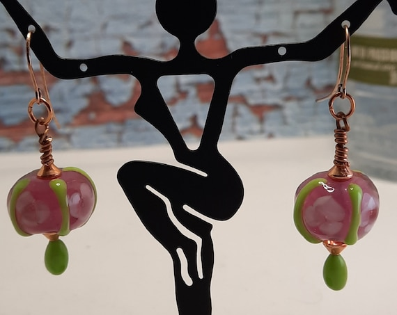 Pink and Spring Green Lampwork Earrings