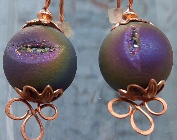 Copper Purple Crystal Druzy Quartz Earrings!