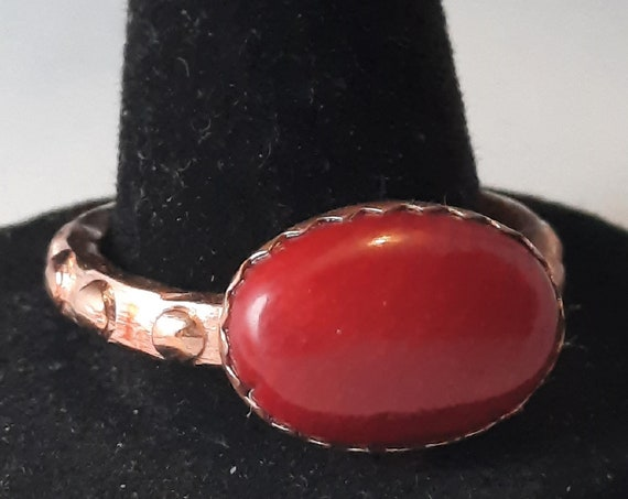 Hand-Made Copper and Coral Ring, Size 8.5