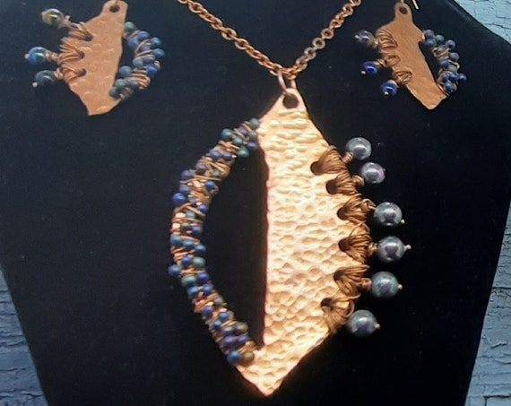 Hand-Hammered Abstract Copper Leaf Necklace and Earring Set - Exclusive!