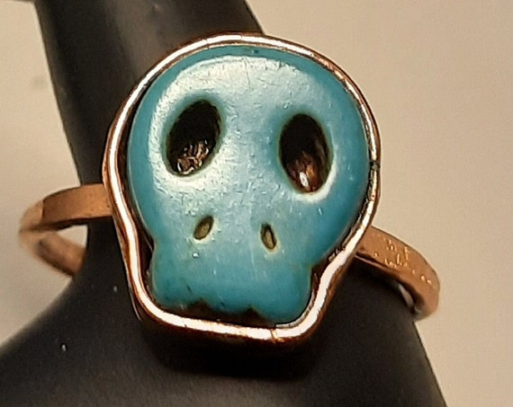 Turquoise Skull Ring in Copper Size 12 1/2