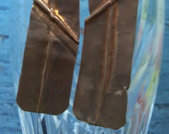 """Fold-formed """"Hellbent"""" Copper Earrings"""