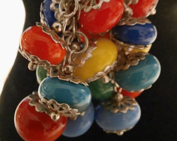 Mini Rainbow Lampwork Sterling Silver Earrings