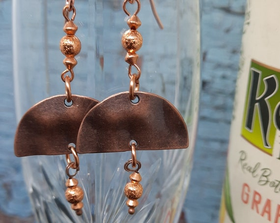 Aztec Influence Half Moon Earrings in Copper