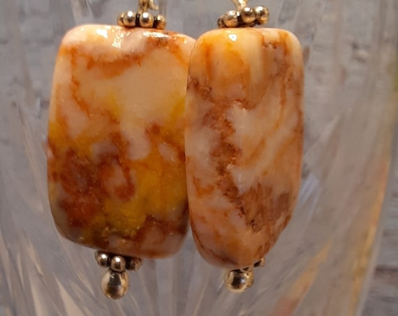 Sterling and Pink Marble Stones Earrings