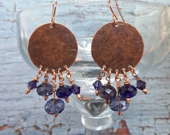 Handcrafted, Hammered Copper Coin with Purple Crystals