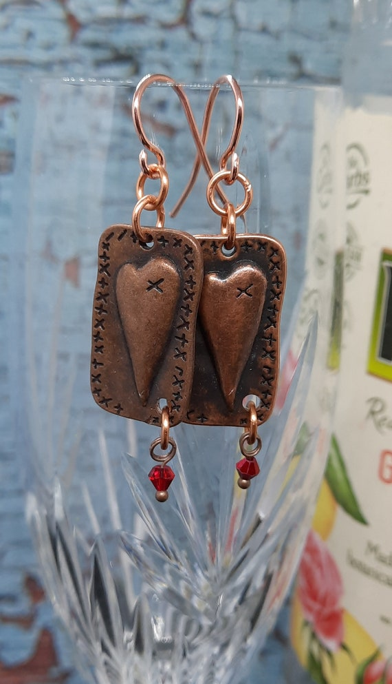 Copper Patchwork Heart with Red Crystals Earrings - Be my Valentine